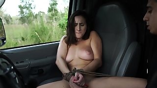 French maid bondage increased by huge dildo domination This new