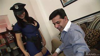 Busty female cop ends up soaking their way pussy with the beamy dick