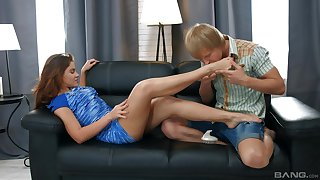 Mind blowing Russian step forth creampie in someone's skin end