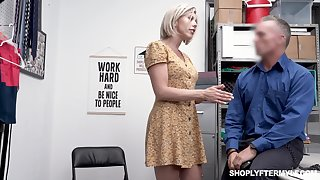 Seductive busty milf Amber Woo gets punished for shoplifting