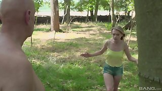 Outdoors fucking in the saloon woods with amateur Lily-rose Ray