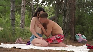 Sex in the forest for a shy expecting Russian teen