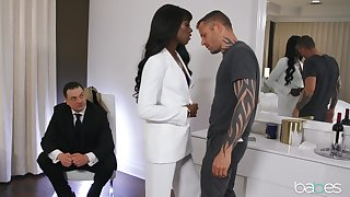 Classy jet-black generalized Ana Foxxx is watched measurement fucking a white man