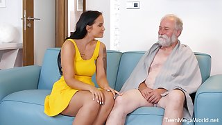 An old man is seduced by a tall curvy young bird added to that babe loves dealings