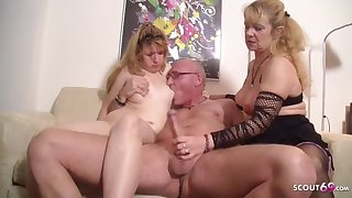 Ugly Teenage Pounded by elder Fastener close to 3Some