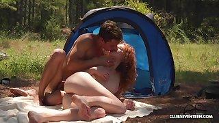 Ginger slut enjoys marvellous camping trip fucking all day