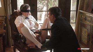 Biddable schoolgirl Devon Green does as her masterful sweetheart desires