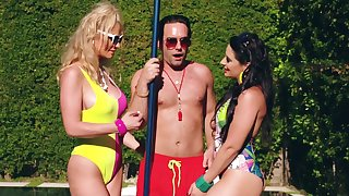 MILFs share the lifeguard's big dick space fully beyond sumptuously