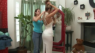 Passionate lesbians are having a wild time during dramatize expunge girl's bridal day