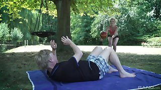 Crazy outdoor sex with an old man and a pretty slutty teen