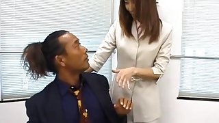 Compacted tits Japanese secretary Runa Sawaguchi moans during a quickie