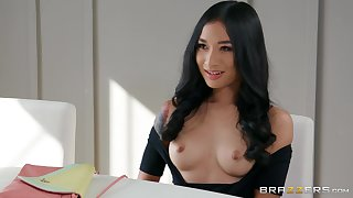 Brunette angel shows missing in the matter of one large dong hitting her from all angles