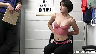 Quickie fucking in the office respecting shoplifter Angeline Red