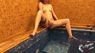 Girl Bathing In The Conjoin And Jerking Pussy While No person