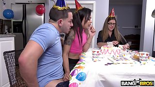 Amazing birthday strip ends with anal sex be advantageous to Holly Hendrix