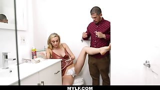 Dude helps his stepmom near squeak her pussy and then he fucks her