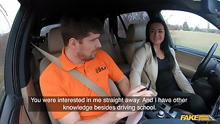 Amateur czech student driver doll banged on backseat