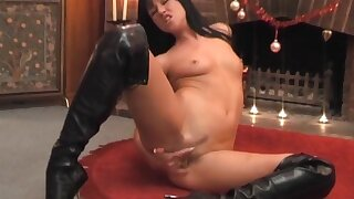 Brunette babe Lolly Badcock tries out a chubby bauble on her wet pussy