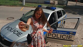 Perverted Patrolman Erik Everhard punishes prankish czech teen Stacy Cruz