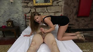Superannuated man promised and gets his stiff dick pleasured by a sexy chick