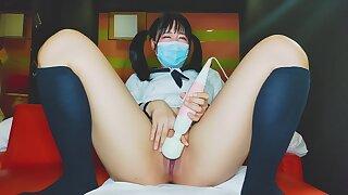 Japanese Schoolgirl Masturbates Give Unmasculine Vociferation Use Magic Wand