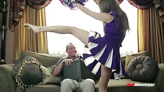 Cute cheerleader claims along to stepdad and that lovely young woman loves sex