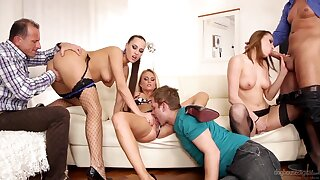 Three Czech swinger couples having nuts group sex in the living scope
