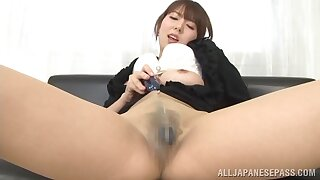 Sexy Japanese lass Yui Hatano reaches into her pantyhose to rub her pussy