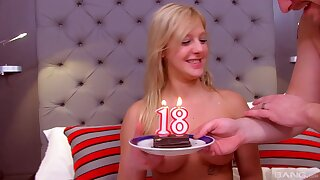 Teen babe receives a big dick on her 18th birthday