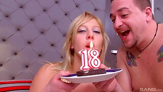 Horny stepdad fucks his stepdaughter on their way 18th overindulge
