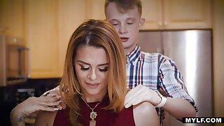 Barely legal boy is losing his celibacy with gaffer sexy Latin stepmom Juliett Russo