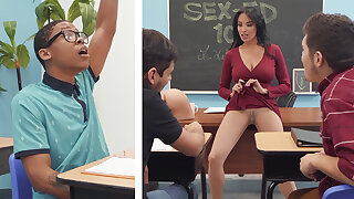 Sumptuous professor shag college unladylike with BIG BLACK Load of shit in the class