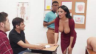Sumptuous professor screw code of practice girl with BIG BLACK COCK in burnish apply class