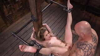 Well-skilled stuffs the pink cunny and uses the vibrator on her clit