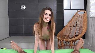 Pretty girlfriend Ella Rosa drops on her knees back suck a stiff cock