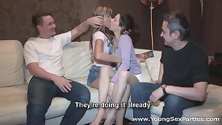 Cute Russian babe Gina Gerson gets creampied after foursome carnal knowledge