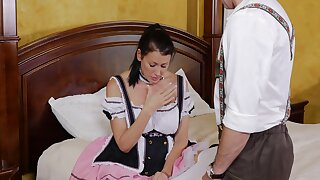Wench undresses for the man added to shoves his dick in both holes