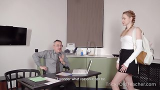 Horny teacher offers to help his pretty student and he wants her pussy