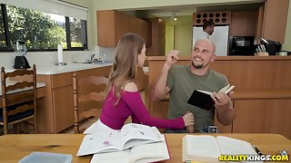 Fit brunette teen Jill Kassidy pounded doggy style in a catch kitchen