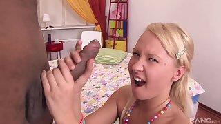 After a blowjob beautiful blonde teen jumps aloft black lover's shaft