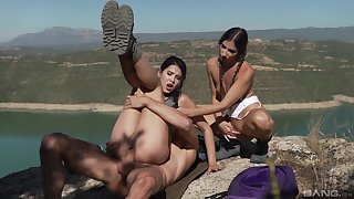 Son Dee and Clea Gaultier in hot open-air dick sharing XXX