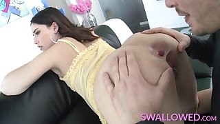 Teen Aria Lee gets a mouthful of cock with the addition of cum
