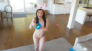 Perky teen helter-skelter a bunny costume Sadie Blake masturbates and rides dick