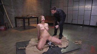 Busty teen tow-headed Skylar Snow tied up and pussy abused hardcore