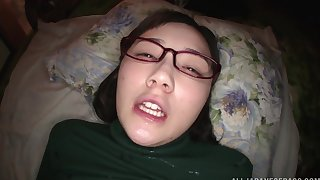 Nerdy Japanese teen Suzuhara Emiri gets cum on her face with glasses