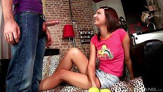 Petite skinny teen Alia rides blarney doggy style like a nympho
