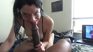 White chick enjoys clotted on a big black knob