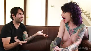 Inked Slut Joanna Angel Gets Rammed On Couch