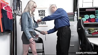 Guilty blonde chick Lilly Bell strips before cop and gets poked revivalist