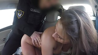 Low-spirited babe ass fucked by horny officer then jizzed